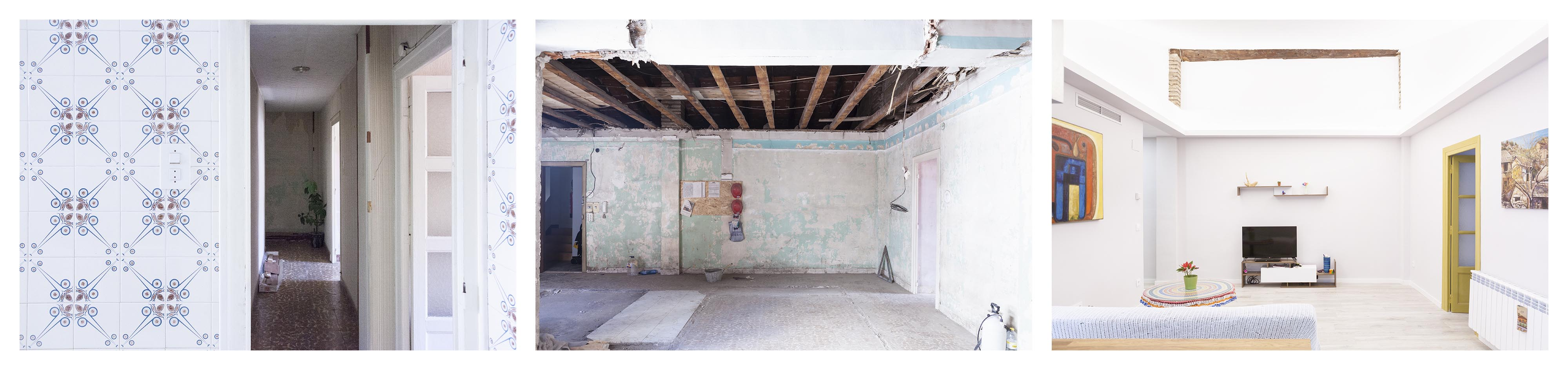 01-reforma-vivienda-salon-abrir-espacio-viga-vista-Zaragoza