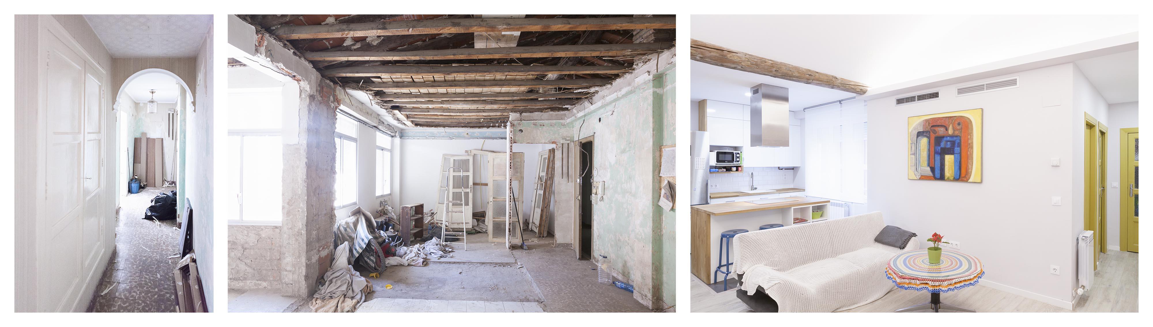 01-reforma-vivienda-salon-cocina-viga-vista-Zaragoza